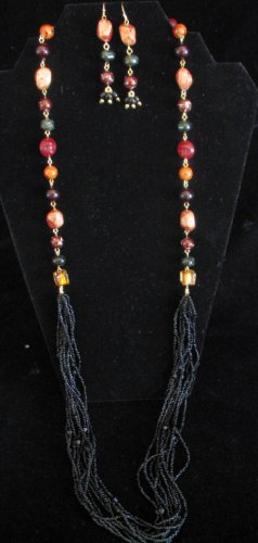 Long colorful modern beaded necklace set