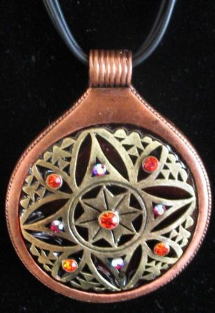 Copper toned pendant with crystal accents necklace set