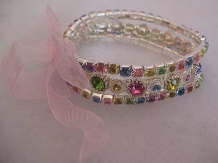 Multi Colored 3 Strand Rhinestone Bracelet Jewelry