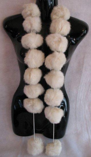 Beautiful Cream Snowball Rabbit Fur Scarf Wrap