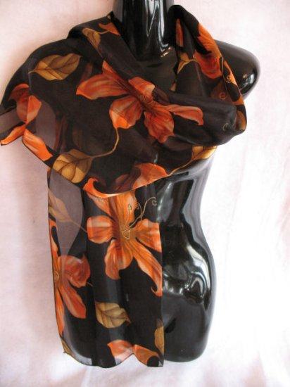 Beautiful Large Floral Print Black Orange Scarf Scarves