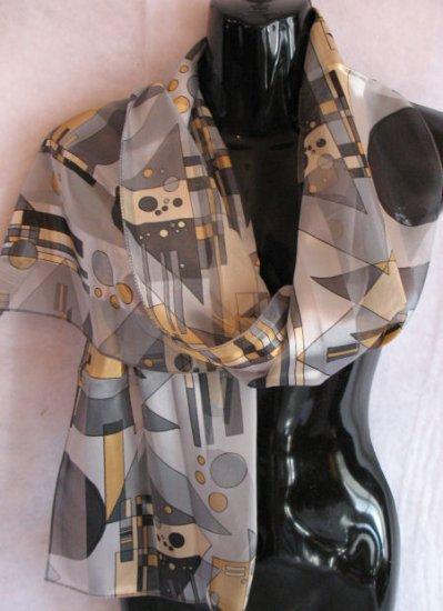Geometric print Bluish Grays and Golden Yellow Scarf