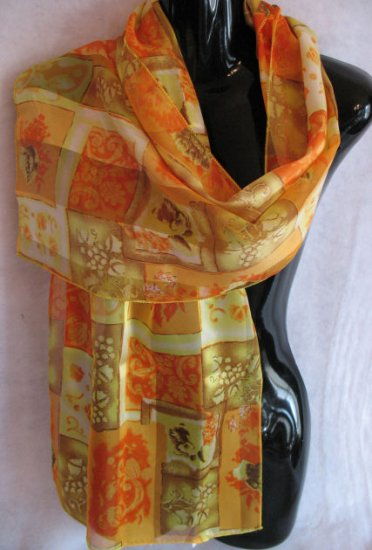 Floral Frame Print Oranges, Yellows, Greens scarf