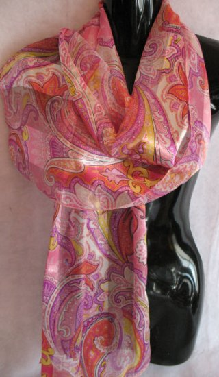 Paisley Print Pink Purple Yellow Scarf Scarves Wrap