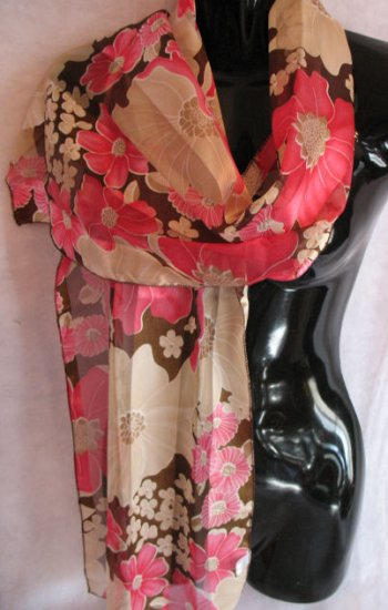 Floral Print Brown, Pink, Tan Scarf Scarves Wrap