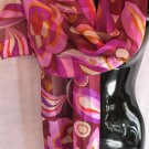Abstract Floral Print Purple, Red. Orange Scarf Scarves