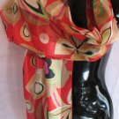 Large Floral Print REd Tan Black Green Scarf Scarves