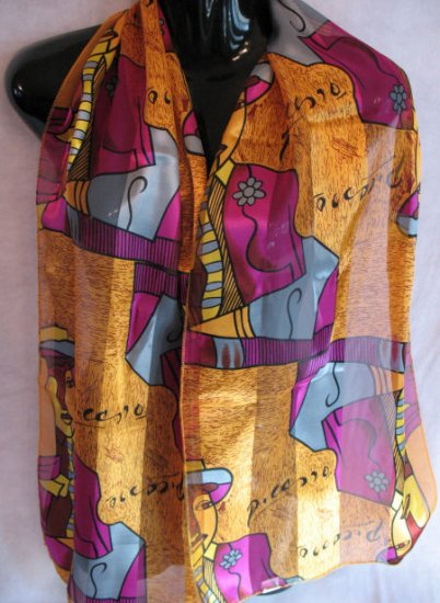 Picasso Scarf Orange, purple, blue , maroon Scarves