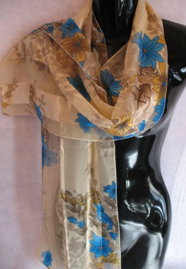 Floral Print Tan Gold Blue Scarf Scarves Wrap SOLD OUT