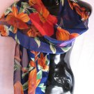 Large Floral Print Blue Red Orange Green Scarf Scarves