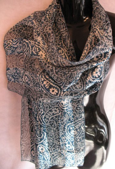 Greenish Blue Floral Paisly Print Scarf Scarves Wrap
