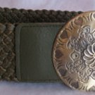 Womens Olive Green Belt Hip Rider Antiqued Buckle