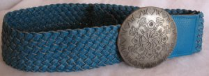 Braided Turquoise Belt Large Silver Buckle Hip Rider