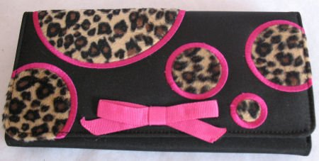 Fun Checkbook Wallet animal Print Black Hot Pink SOLD OUT