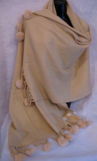 Camel Pashmina Shawl rabbit Fur Pom Poms wrap scarf