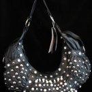 Black HoBo Handbag studded with Faux pearls ,Rhinstones