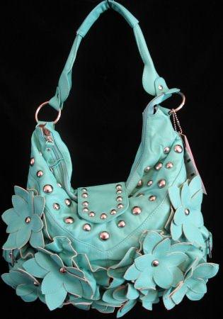 Turquoise Blue Flower studded handbag bag Purse