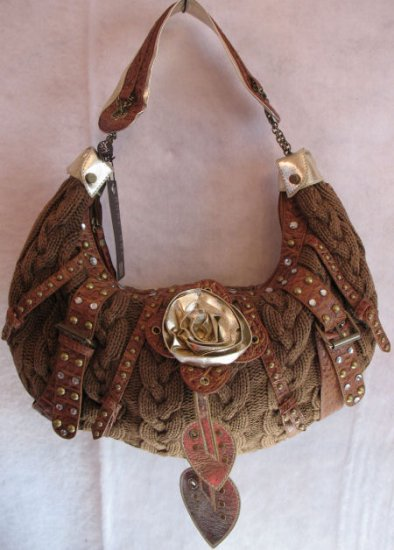 Inspired Cable Knit Tan Handbag Bag Purse Crystals stud