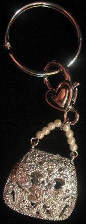Handbag keychain belt or purse clip faux pearls crystal
