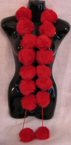 Red Snowball Rabbit Fur Scraf Scarves Wrap BEAUTIFUL