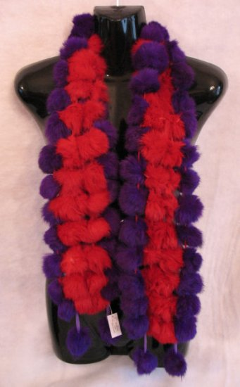 Red Hat Ladies Rabbit Fur Pom Pom Scarf scraves wrap