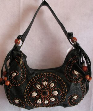 Black Pebble grain faux leather Wood beaded purse bag