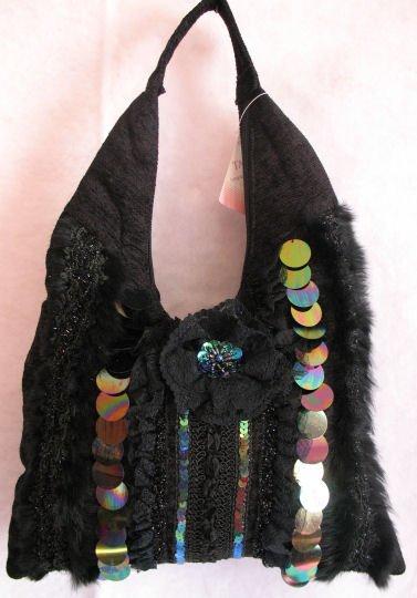 Black Woven fabric handbag Rabbit fur trim Sequins