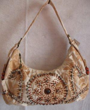 Cream & Gold Floral Fabric purse beaded design