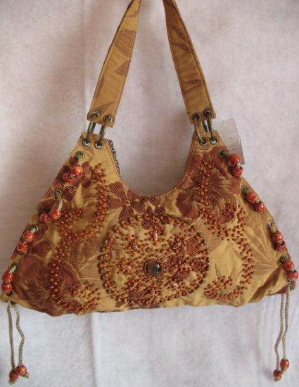 Tan Brown durable Fabric Floral print beaded purse Bag