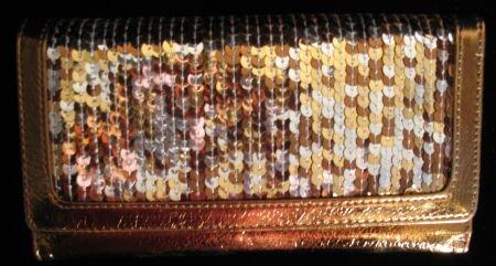 Bronze multi color Sequin checkbook wallet clutch CafeBug Women's Accessories