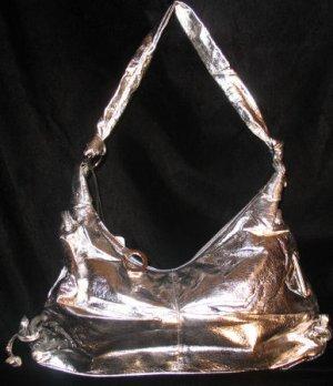 Metallic silver tie side handbag bag purse medium sized CafeBug Women's Accessories