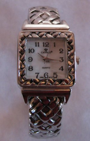 Beautiful Silver tone Cuff Watch with Mother of Pearl CafeBug SOLD OUT