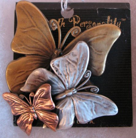 Pin Brooch Butterflys Muted Gold, Silver & Copper Tone CafeBug