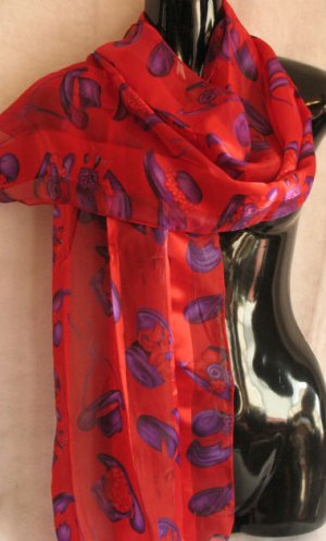 Red Hat Ladies Red and Purple Scarf Scarves Wrap CafeBug
