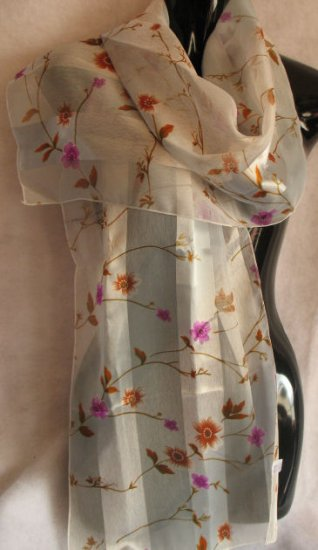 Super Pale Blue background Floral print Scarf Scarves CafeBug