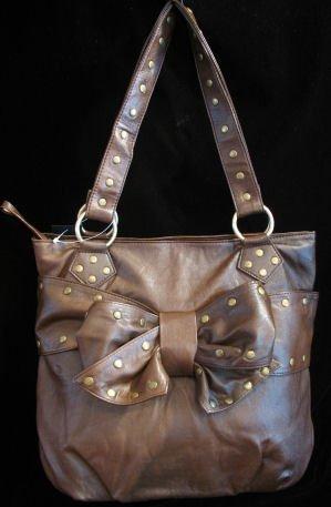 Coffee Brown handbag Studs bow Large Bag Purse Tote