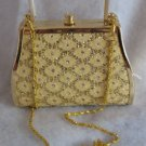 Gold evening bag with 3 compartments handbag purse