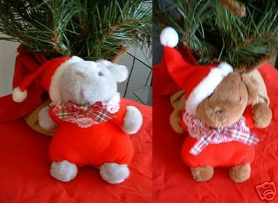 CHRISTMAS MOUSE & BEAR STUFFED ANIMALS **NEW**