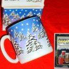SNOWY  PINE TREES SCENE MUGS & SPICES, SET OF 2  **NEW*