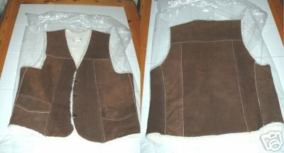 LEATHER VEST, SUEDED WITH LINING, Size:Small, **NEW**
