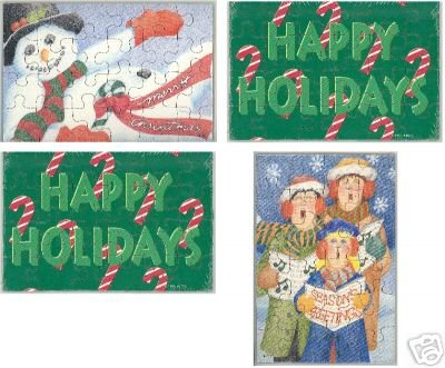 CHRISTMAS POSTCARD PUZZLES, SET OF 4 **NEW**