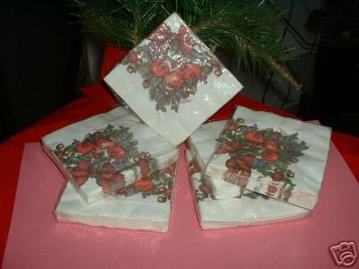 """HOLIDAY BEVERAGE NAPKINS,16CT, 3PLY,10""""X10"""",6 PACKAGES"""