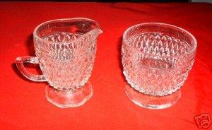 CREAM & SUGAR, DIAMOND POINT CRYSTAL-INDIANA GLASS *NEW