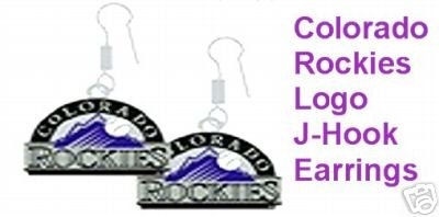"""COLORADO ROCKIES """"TEAM LOGO"""" J-HOOK EARRINGS   *NEW*"""