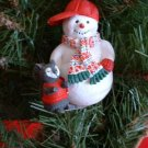 SNOWMAN IN A BASEBALL CAP WITH SQUIRREL ORNAMENT, **NEW**