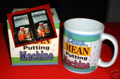 "GOLFER'S MUG:""LEAN, MEAN PUTTING MACHINE"" *NEW IN BOX"