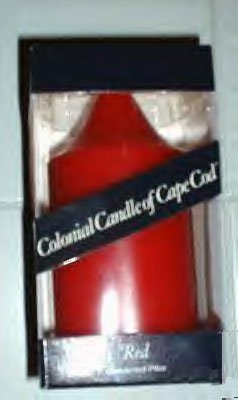 """COLONIAL CANDLE OF CAPE COD RED  5.5"""" PILLAR *NIB*"""