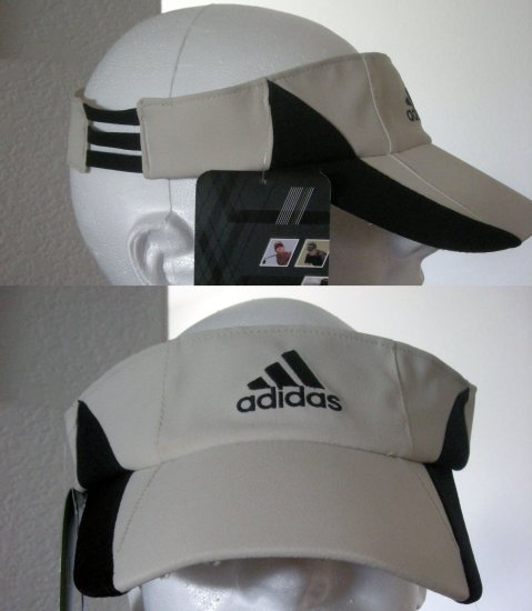 "ADIDAS ""CLIMACOOL"" EMBROIDERED VISOR, BEIGE/BLACK *NEW"