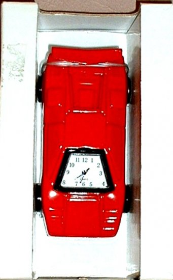 INDY RACE CAR CLOCK, DIE-CAST RED  **NEW**