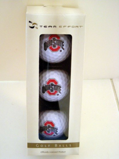 OHIO STATE GOLF BALLS, PACKAGE OF 3 by TEAM EFFORT *NEW